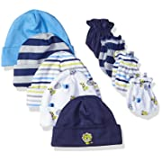 GERBER Baby Boys' 9-Piece Cap and Mitten Bundle, Safari, Newborn