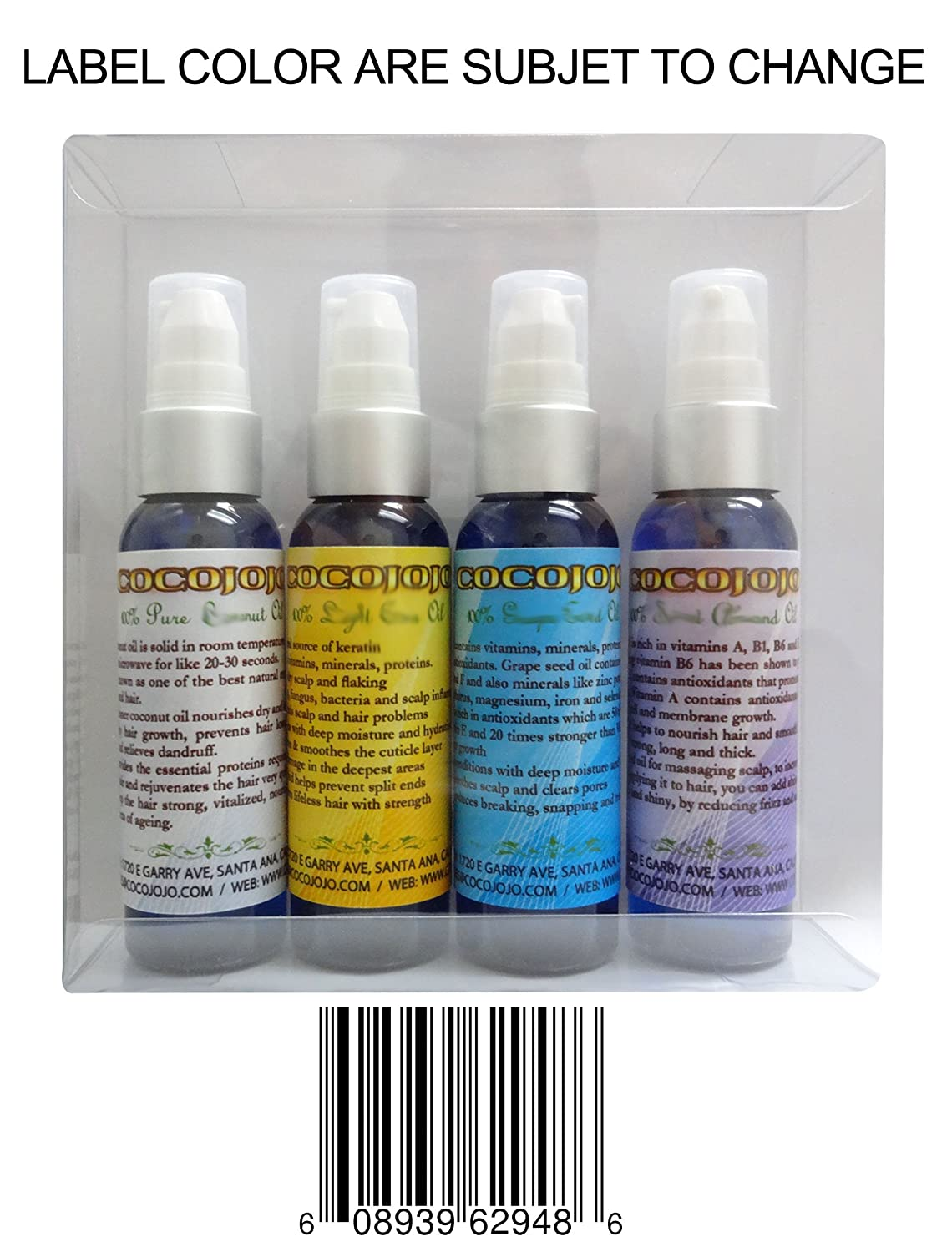 Hair Treatment Kit 4 Bottles of Pure 2 Oz Emu, Grape Seed, Coconut, Neem Oil