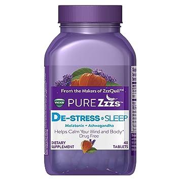 Vicks Pure Zzzs De-Stress & Sleep Melatonin Sleep Aid Tablets with Ashwagandha, Chamomile