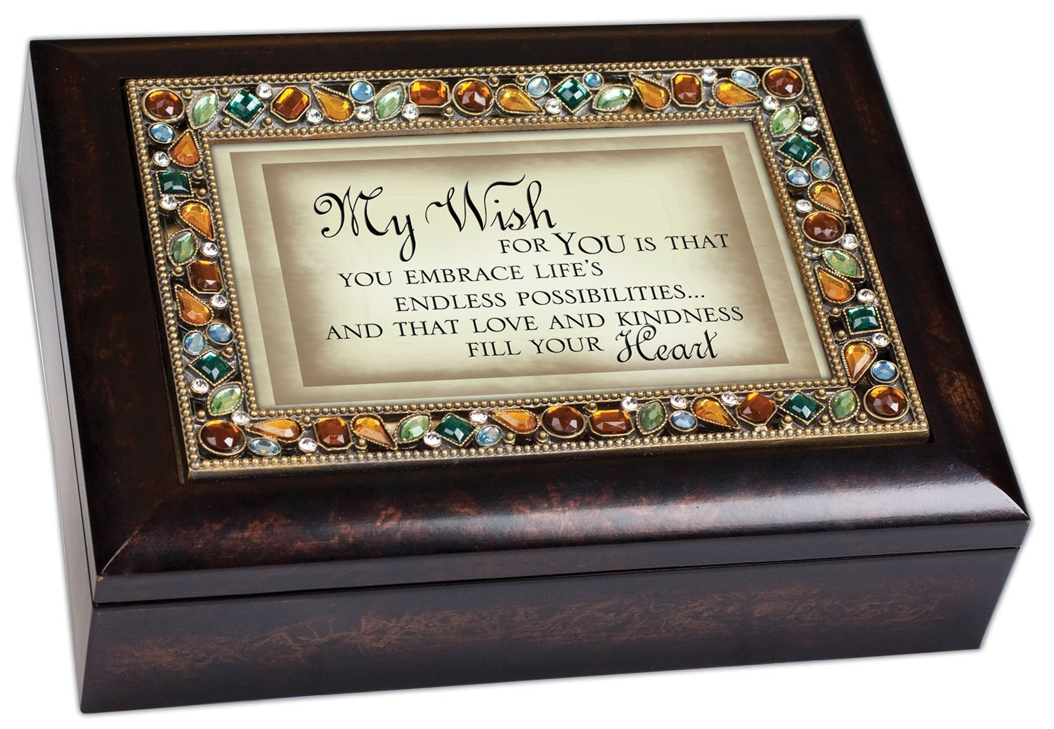 My Wish for You Inspirational Italian Style Burlwood Finish Decorative Jewel Lid Musical Music Jewelry Box - Plays Edelweiss by Cottage Garden