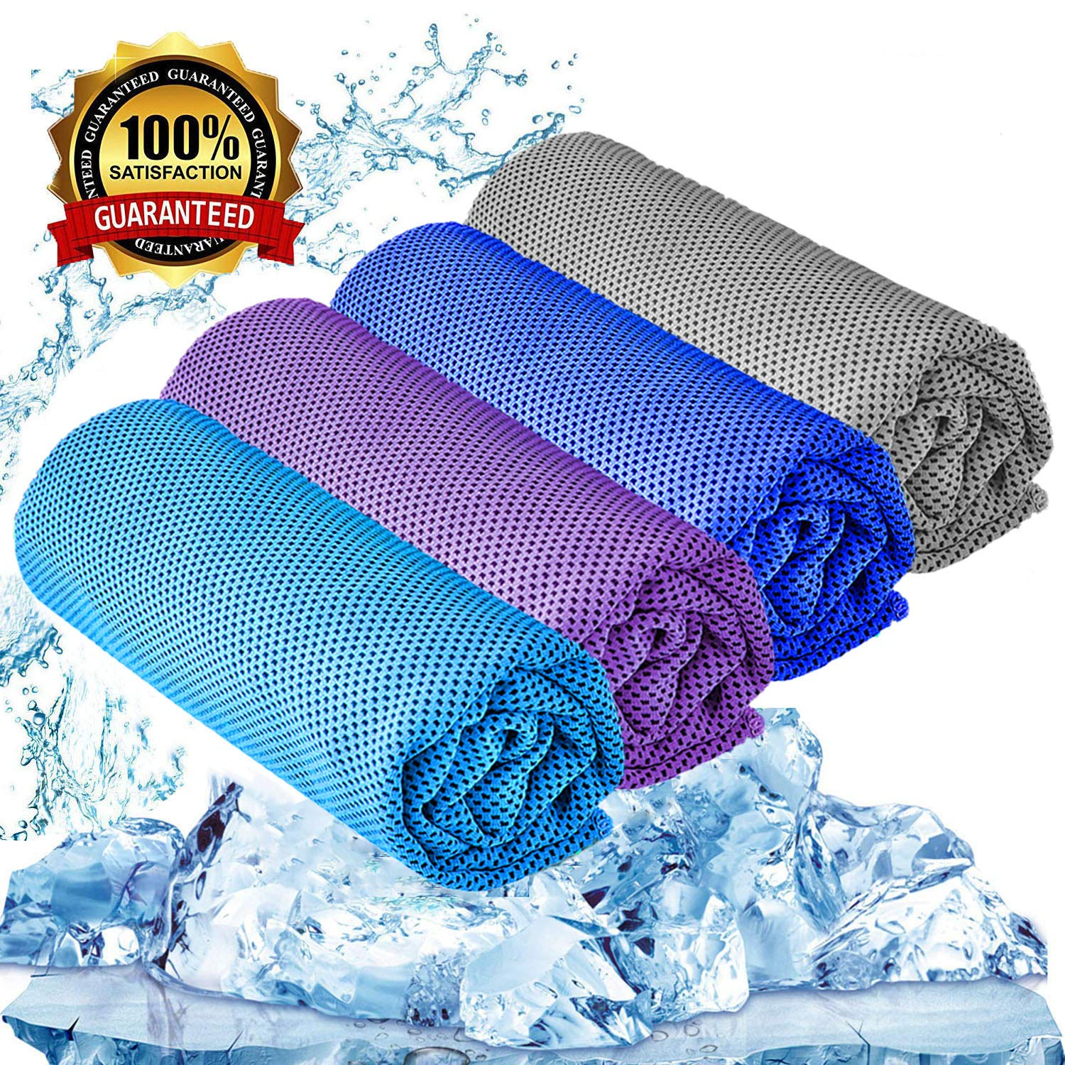 YQXCC Cooling Towel 3 Pcs (47''x12'') Microfiber Towel for Instant Cooling Relief, Cool Cold Towel for Yoga Golf Travel Gym Sports Camping Football & Outdoor Sports (Light Blue/Purple/Dark Blue/Gray) by YQXCC