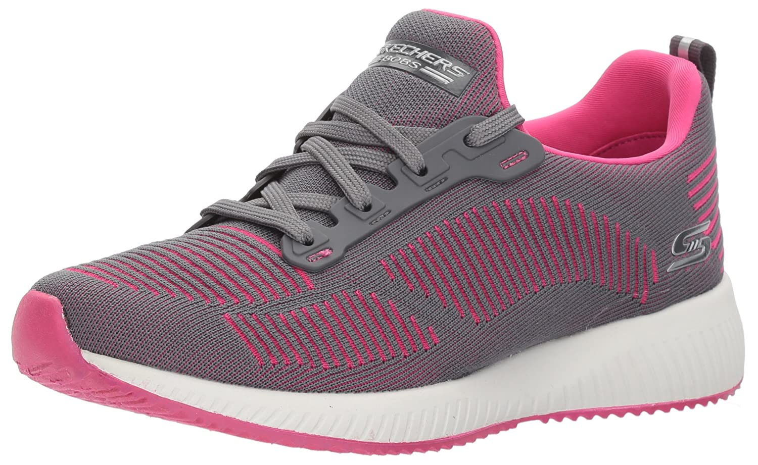 Skechers BOBS from Women's Bobs Squad-Twinning Fashion Sneaker B0719WY44Z 5.5 B(M) US|Charcoal Pink