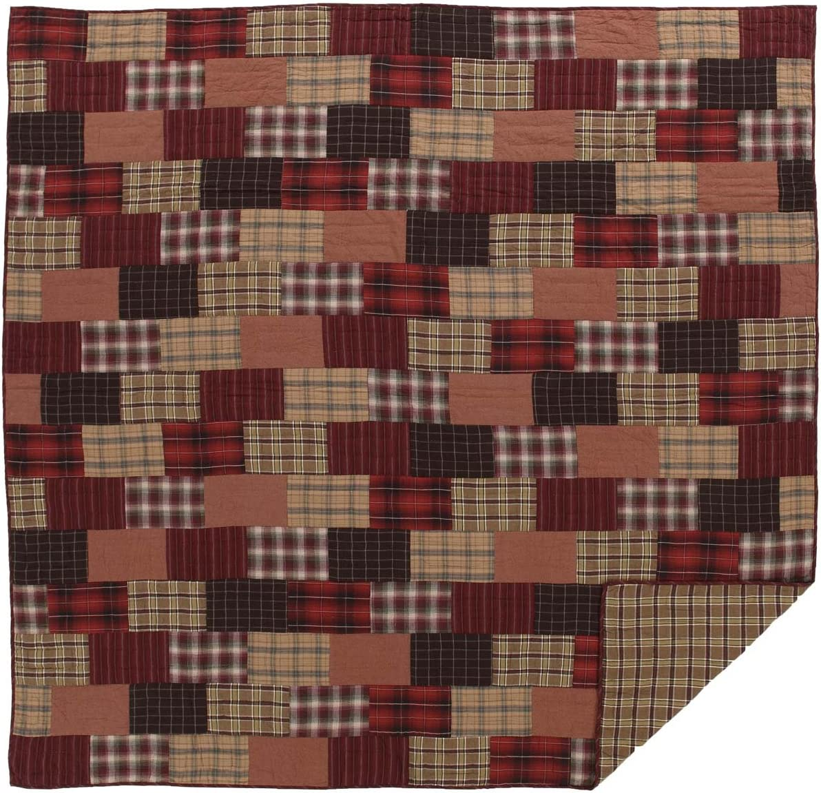 VHC Brands Rustic & Lodge Bedding - Wyatt Red Quilt, Queen, Crimson
