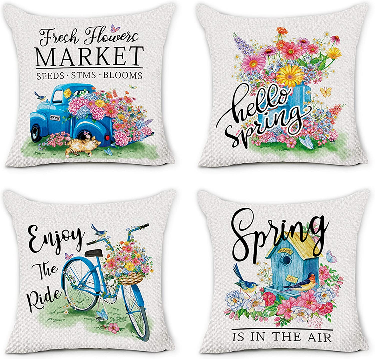 Wedding Present Farmhouse Spring Flowers Throw Pillow Mothers Day Gift 18 x 18 Rustic Pillow Cover