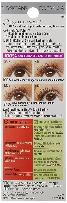 1c6df76b934 Amazon.com : Physicians Formula Organic Wear 100% Natural Origin Lash  Boosting Mascara, Black, 0.26 Ounce : Physician S Formula Mascara : Beauty