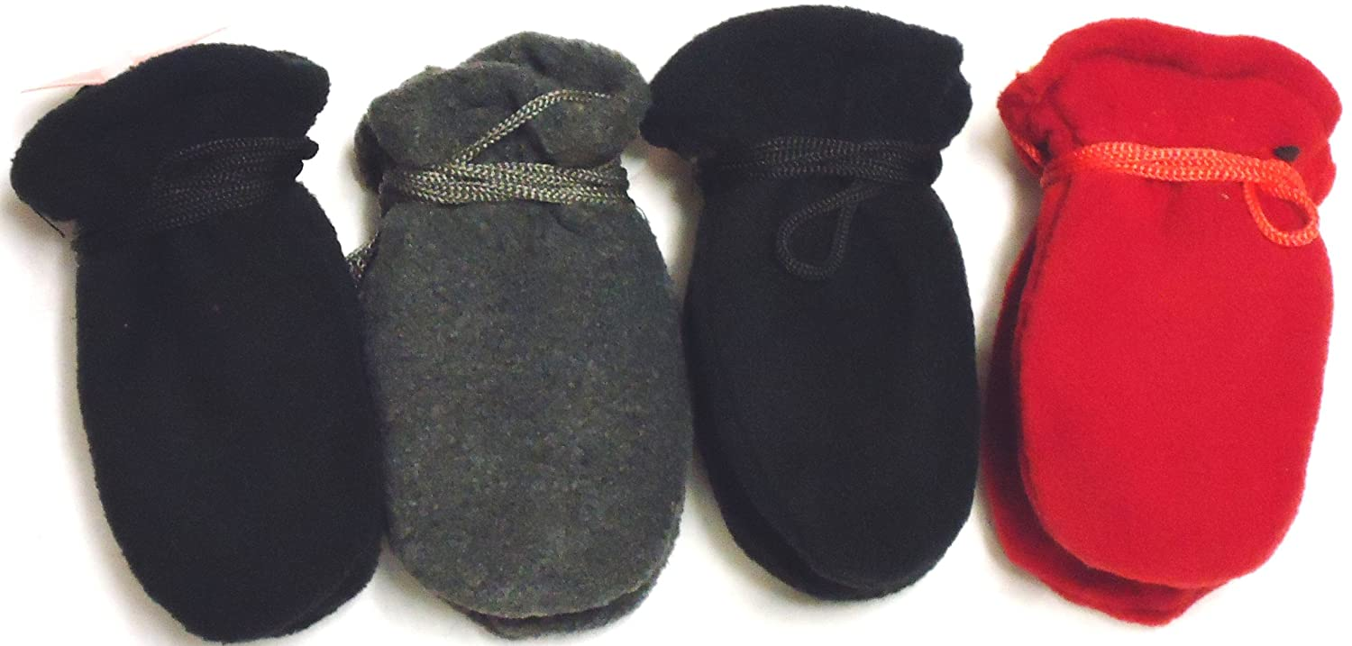 Set of Four Pairs Mongolian Very Warm Fleece Mittens for Ages 3-12 Months
