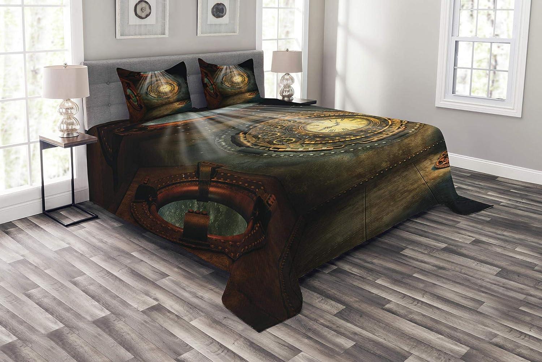 Ambesonne ファンタジー ベッドスプレッド ファンタジー 風景 クロック ドリーム 空の光 天井 フィクション アートワーク 装飾 キルト カバーレット セット ピローシャム ブラウン ティール クイーン bed_12931_queen B07HM81Z49 マルチ1 クイーン