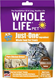 Whole Life Pet Healthy Cat Treats, Human-Grade Whole Chicken Breast, Protein Rich for Training, Picky Eaters, Digestion, Weig