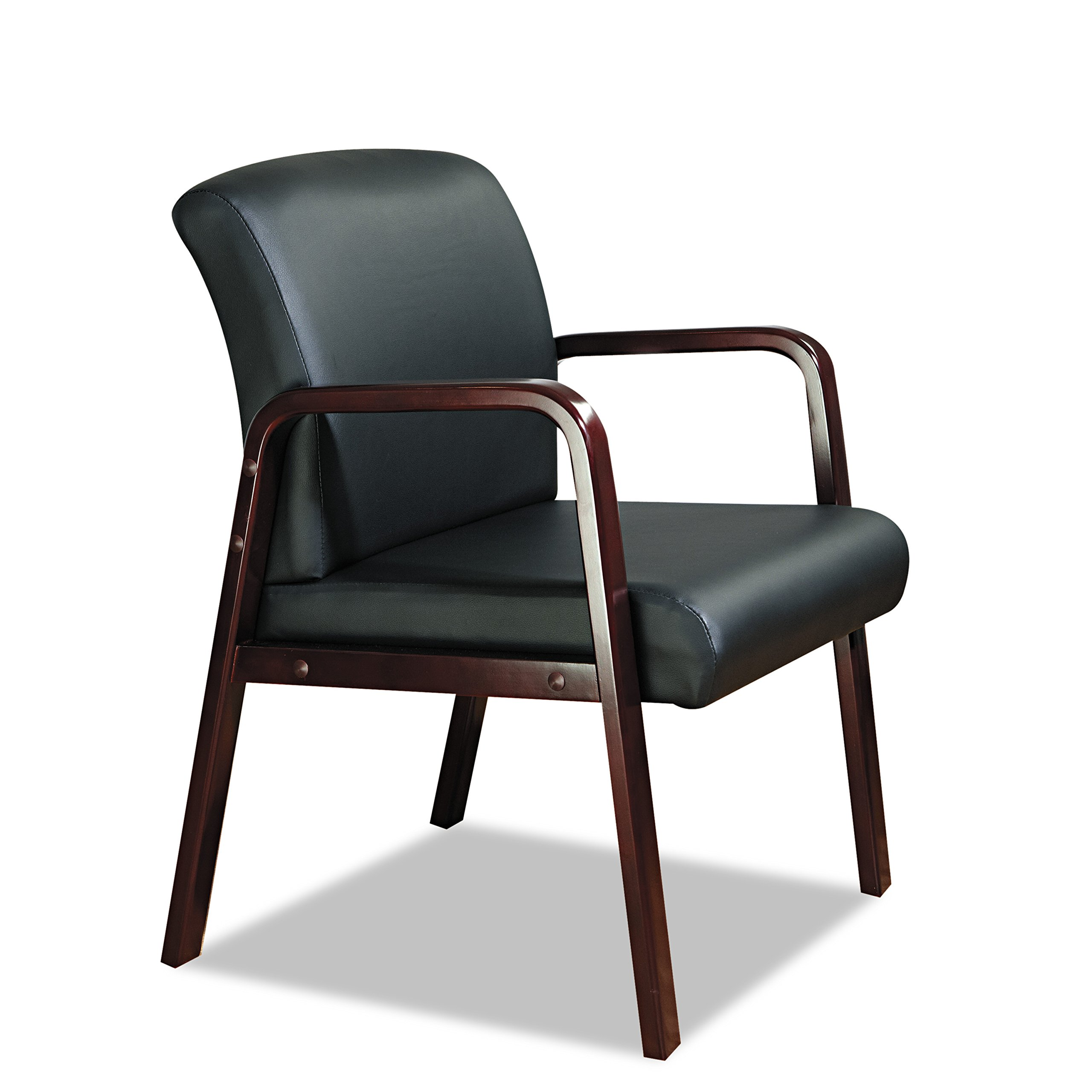 Alera ALERL4319M Reception Lounge Series Guest Chair, Mahogany/Black Leather by Alera (Image #7)