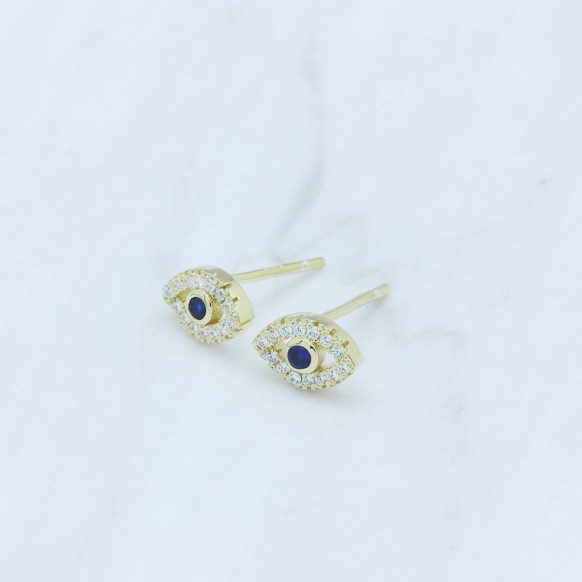 14k Yellow Gold-Plated Sterling Silver Cubic Zirconia Mini Evil Eye Jewish Symbol Stud Earrings