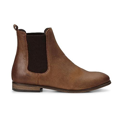 timeless design 064a4 aec99 Cox Damen Damen Chelsea-Boots in Braun aus Leder, Stiefelette mit  Stretch-Einsatz