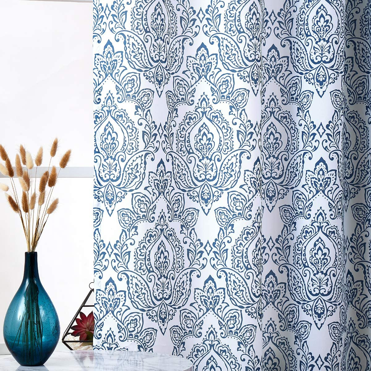 White Blue Curtains for Living Room 84 Inch Long Vintage Damask Printed Window Curtain Panels for Bedroom Grommet Top Floral Pattern Draperies 2 Pcs