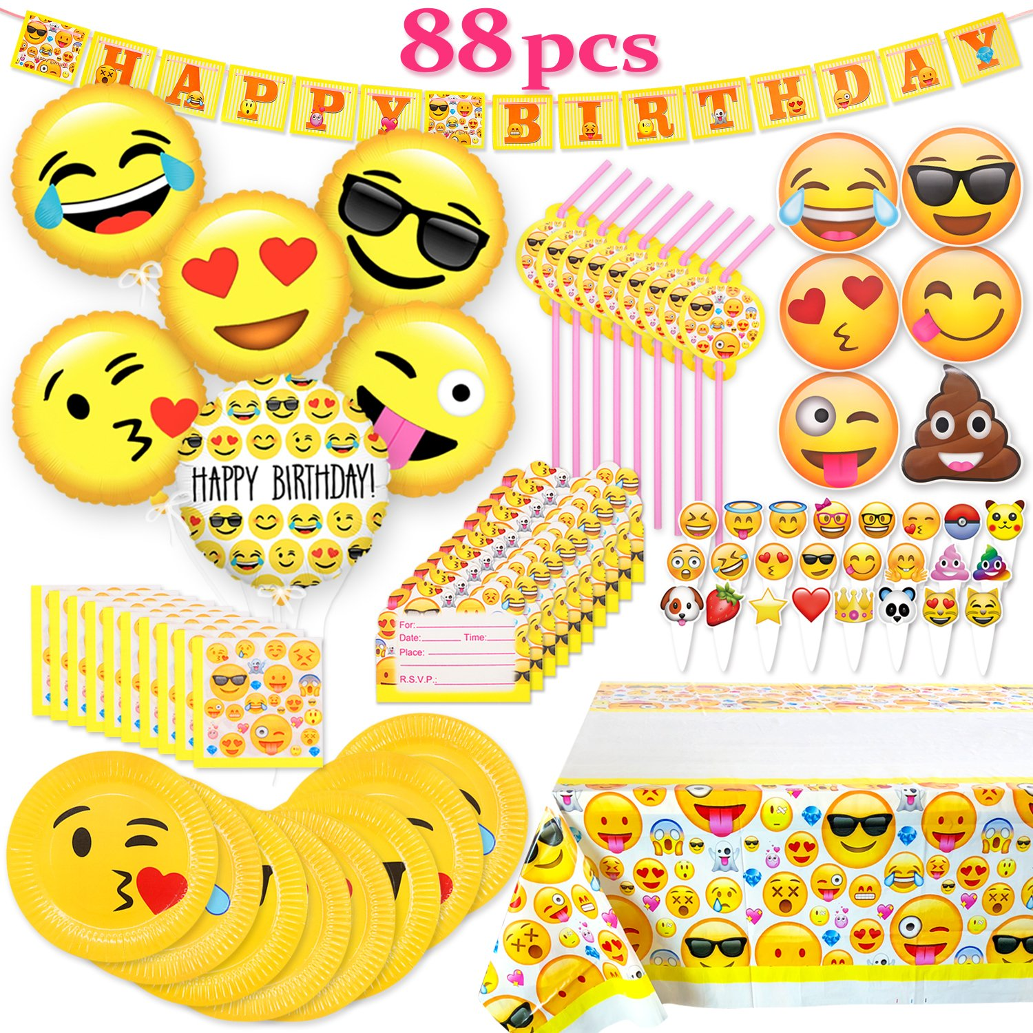 Melonboat Emoji Party Supplies 88ct Birthday Decorations Kit Cards Foil Gold Balloons Tablecloth Cupcake Toppers Plates Straws Napkins