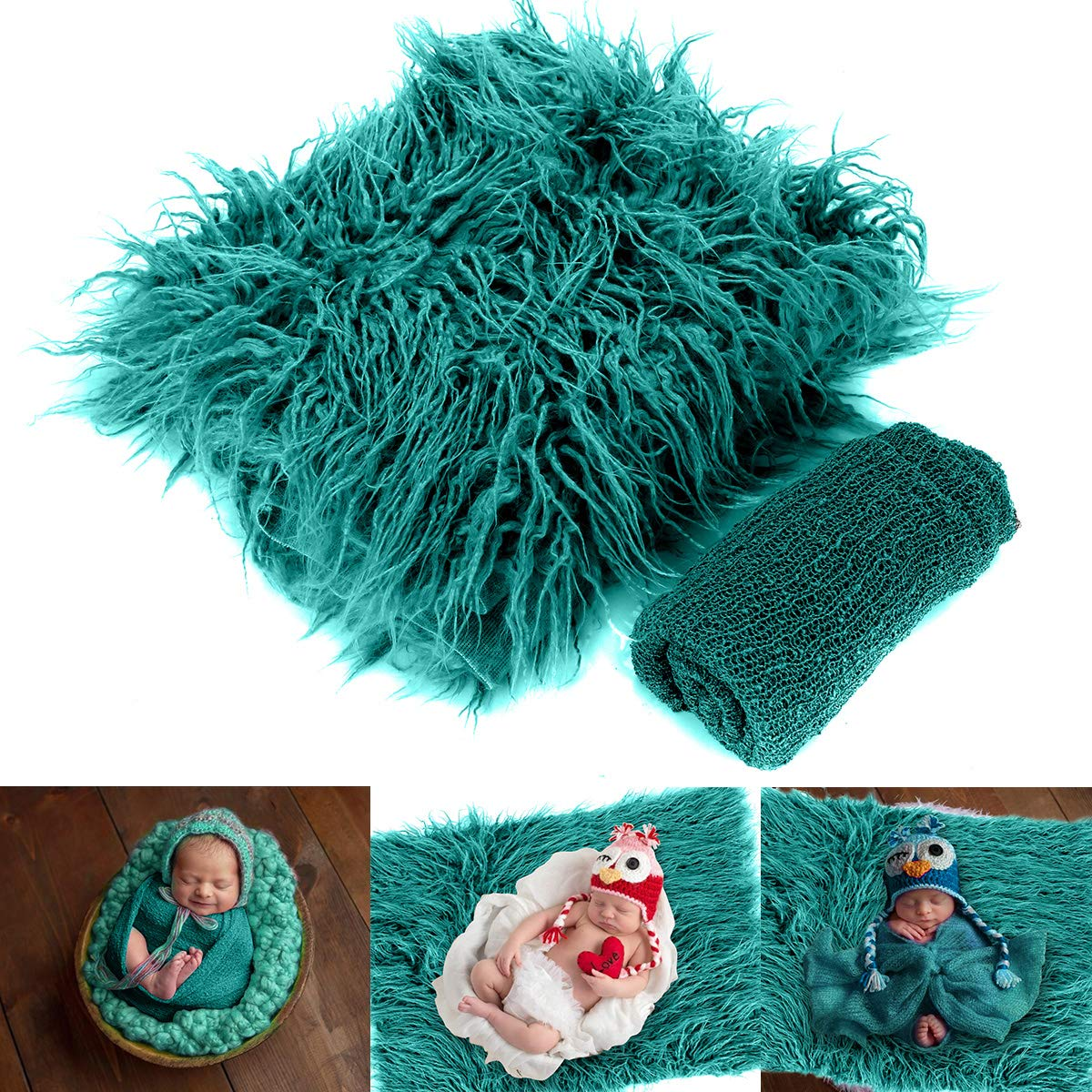 Yinuoday 2PCS Newborn Baby Photography Props DIY Newborn Wraps Photography Mat Blanket for Baby Boys and Girls