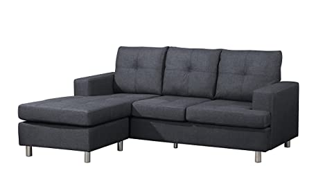 Wondrous Container Furniture Direct Fancy Linen Upholstered Contemporary Reversible Sectional Sofa 76 5 Blue Inzonedesignstudio Interior Chair Design Inzonedesignstudiocom