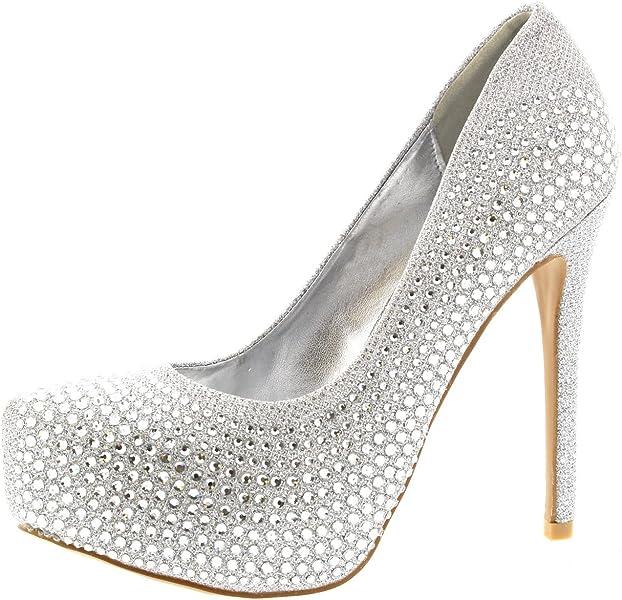 b2fa229cb Viva Womens Evening Platforms High Heels Stiletto Diamante Party Court Shoes  - Silver - US5