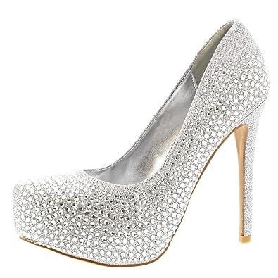 3ad9ed0d8f1 Viva Womens Stiletto Diamante Party Evening High Heel Platforms Court Shoes   Amazon.co.uk  Shoes   Bags