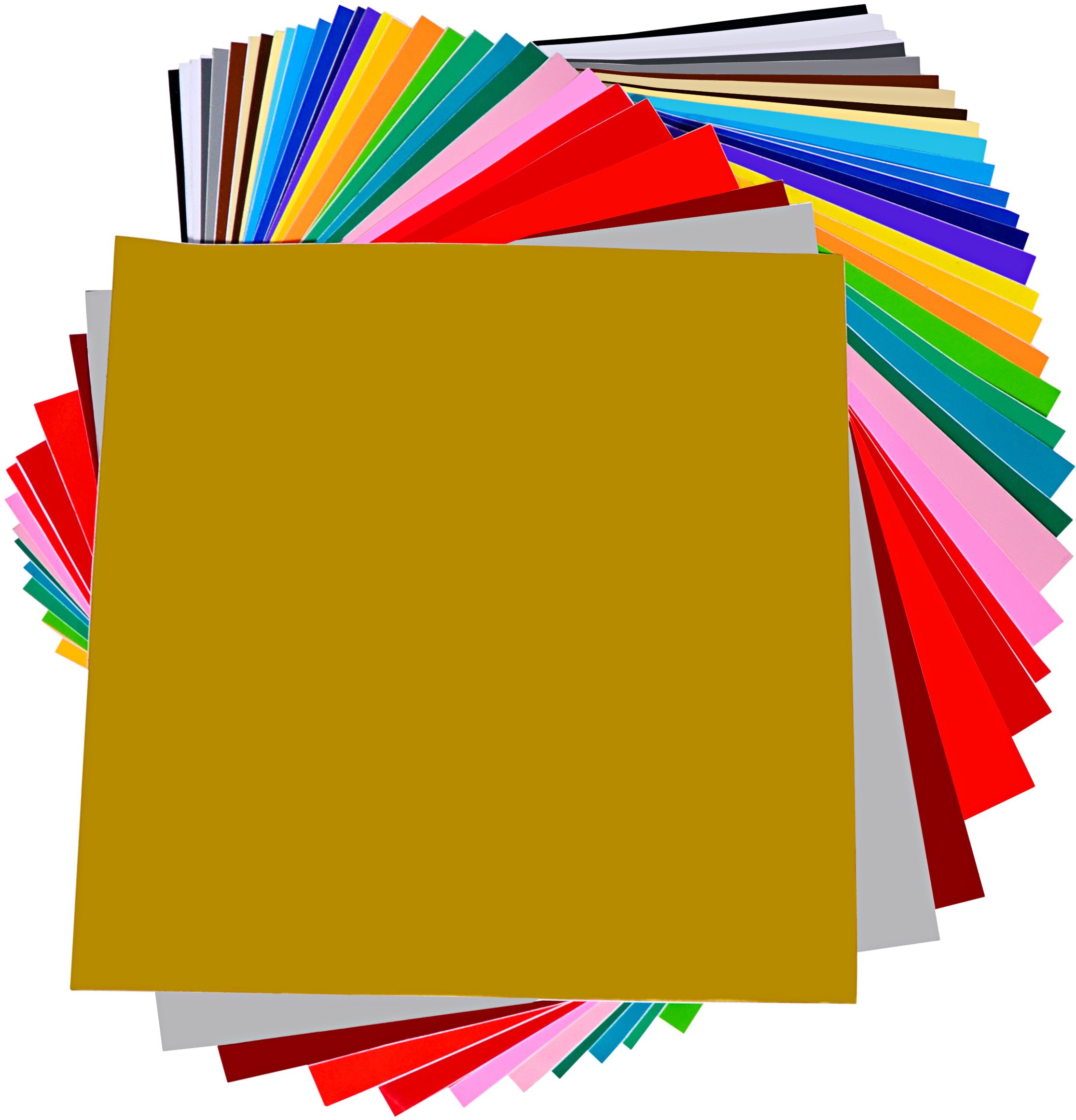 "Permanent Adhesive Backed Vinyl 40 SHEETS - PrimeCuts USA - 40 SHEETS 12"" x 12"" - 40 Assorted Color Sheets for Cricut, Silhouette Cameo, and Other Craft Cutters"