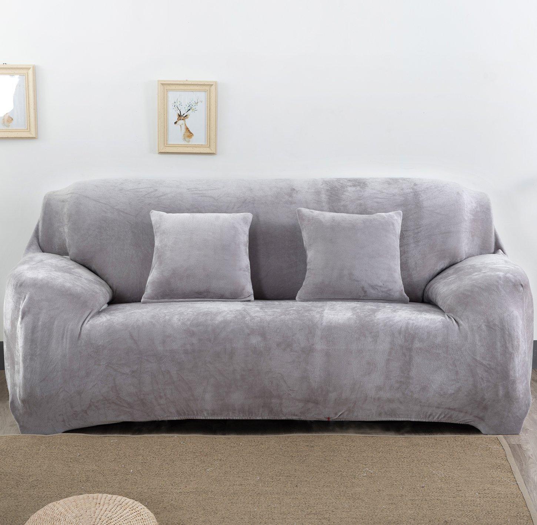 nhockericストレッチシートチェアカバーソファカバーソファ、Slipcoverソファラブシートカバー4 for 1 2 3 4 4人ソファー Sofa-3seater グレー MY107-Grey-Three Sofa-3seater グレー B07FYF5ZMX