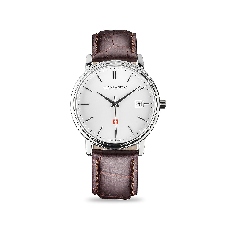 * Neu | Nelson Martina Classic Silver 301 | Saphirglas | Swiss Made