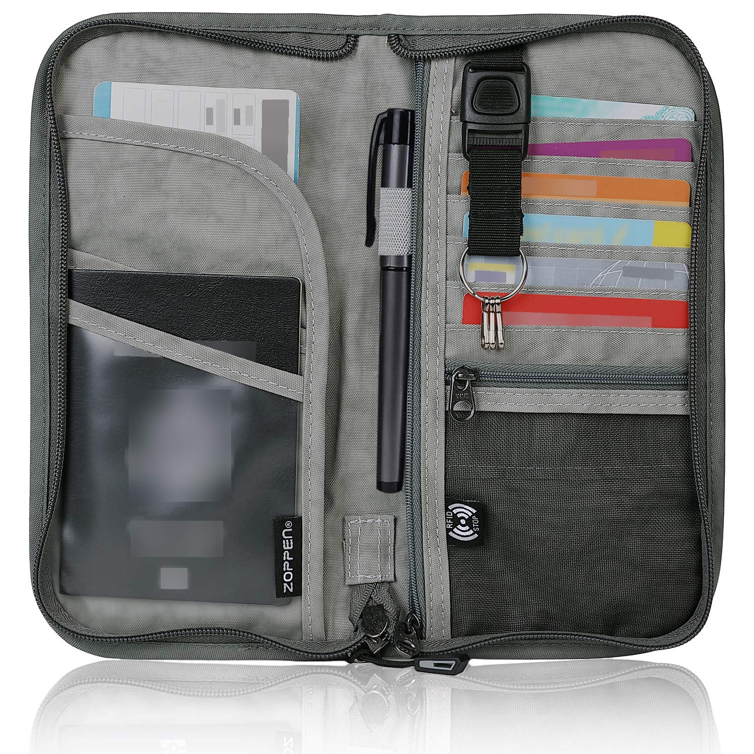 Zoppen RFID Travel Passport Wallet & Documents Organizer Zipper Case with Removable Wristlet Strap, Grey by Zoppen