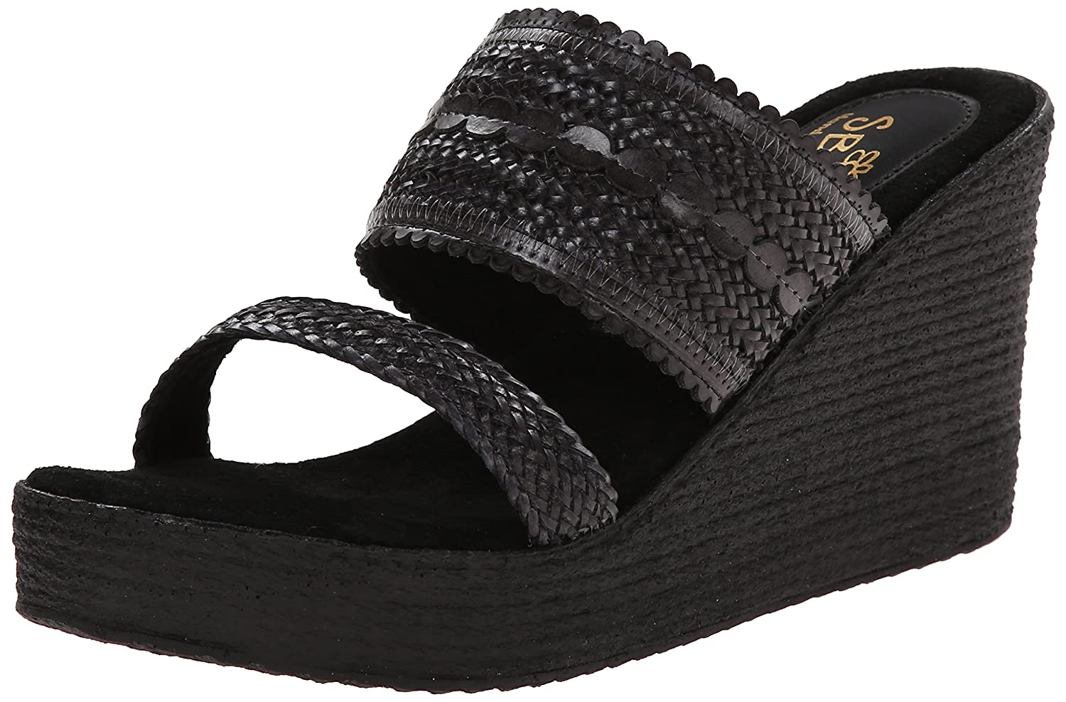 Sbicca Women's Anatase Wedge Sandal B00O1BJ654 10 B(M) US|Black