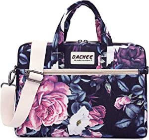 DACHEE Purple Rose Pattern Waterproof Laptop Shoulder Messenger Bag Case Sleeve for 12 inch 13 inch Laptop and 11/12/13.3 inch