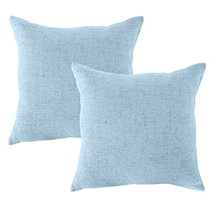 light blue throw blue cream albad linen pillow covers 18 inch sets sky blue decorative square throw amazoncom