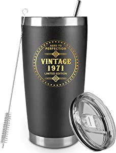 50th Birthday Gifts for Men Women, Double Wall Vacuum Insulated tumbler, 1971 Birthday Gifts for Women Men, 50th Anniversary Gifts for Parents(20 oz, Black)
