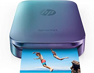 "HP Sprocket Portable Photo Printer, Print Social Media Photos on 2x3"" Sticky-Backed Paper - Blue (Z9L26A)"