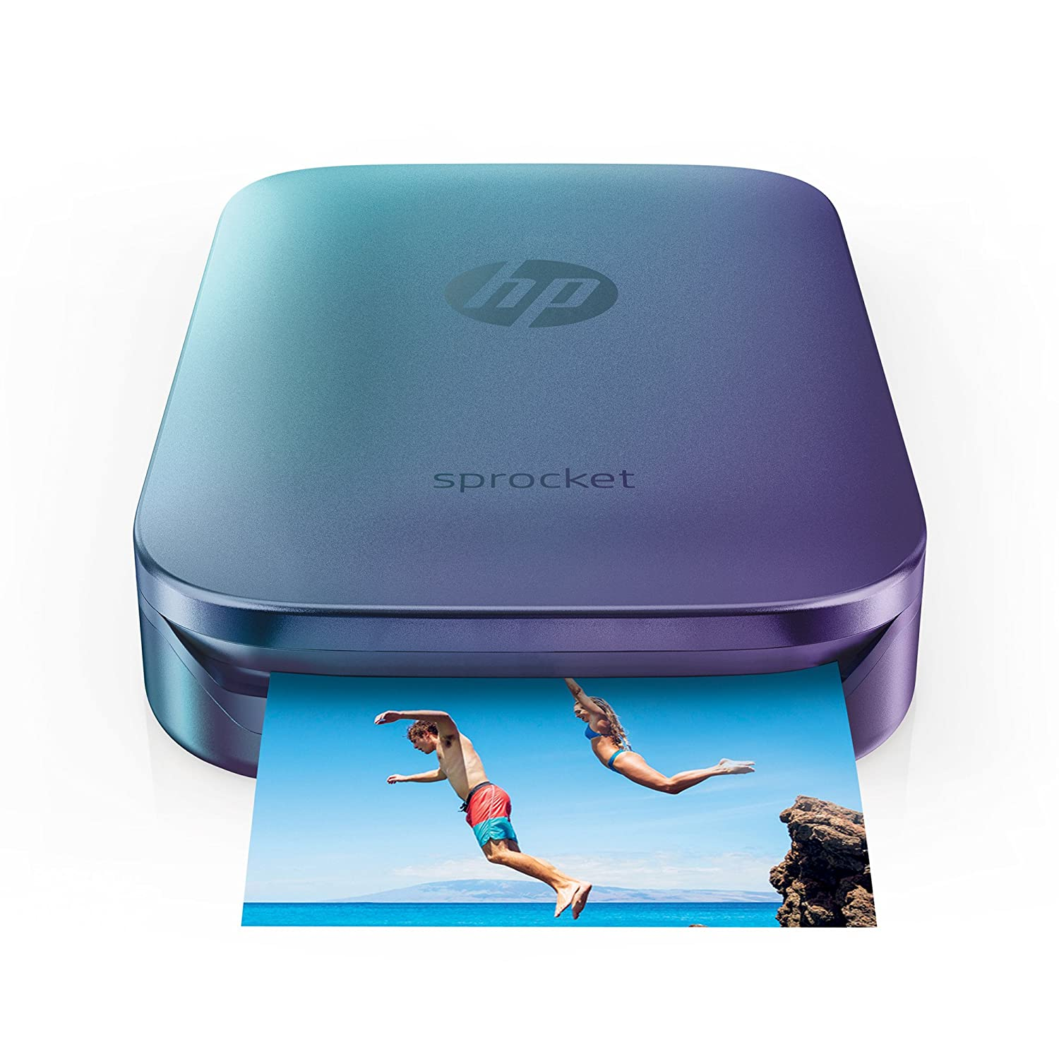 HP Sprocket Portable Photo Printer, Print Social Media Photos on 2x3 Sticky-Backed Paper - Blue (Z9L26A) Hewlett Packard