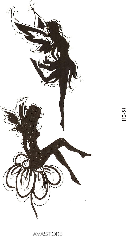 Tatouage Temporaire Femme Fee Clochette Noir Tatouage Ephemere Fee Clochette Pour Femme Avastore Amazon Fr Beaute Et Parfum
