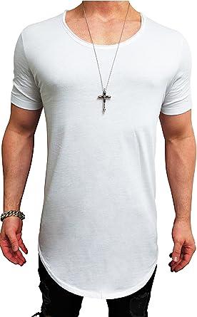 Herren Oversize Designer T-Shirt Tee Longshirt basic slim-fit kurzarm lange  Oversized männer e05894ca12