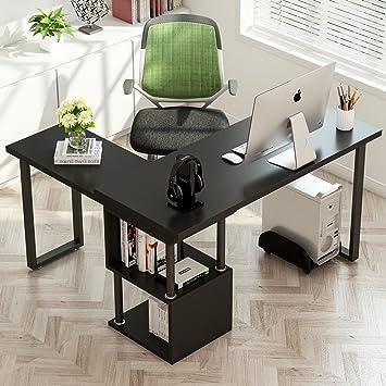Tribesigns Modern L Shaped Desk, 360° Free Rotating Corner Computer Desk  Writing Desk