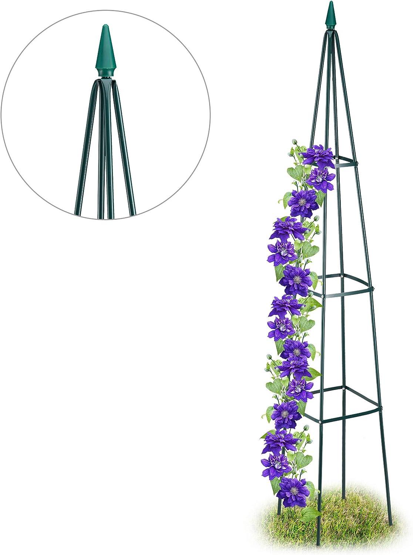 Relaxdays, Verde Oscuro, Obelisco Plantas XL para Trepadoras, Hierro, 192 x 31 x 31 cm