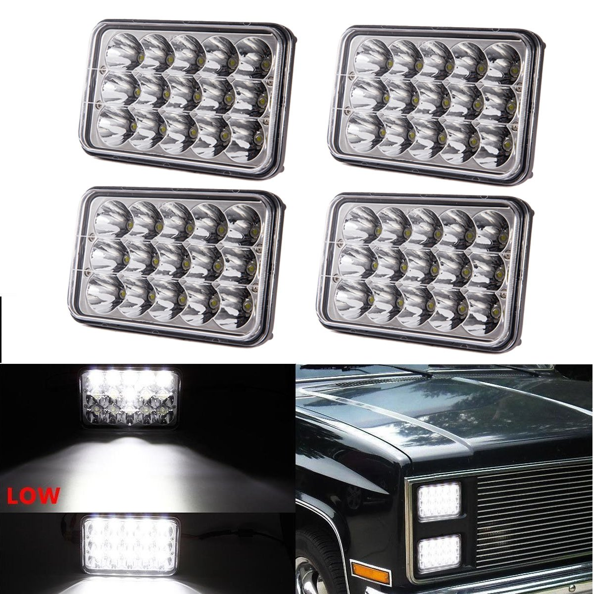 (4pcs) Dot approved 4x6 inch LED Headlights Rectangular Replacement H4651 H4652 H4656 H4666 H6545 for Peterbil Kenworth Freightinger Ford Probe Chevrolet Oldsmobile Cutlass LX-LIGHT