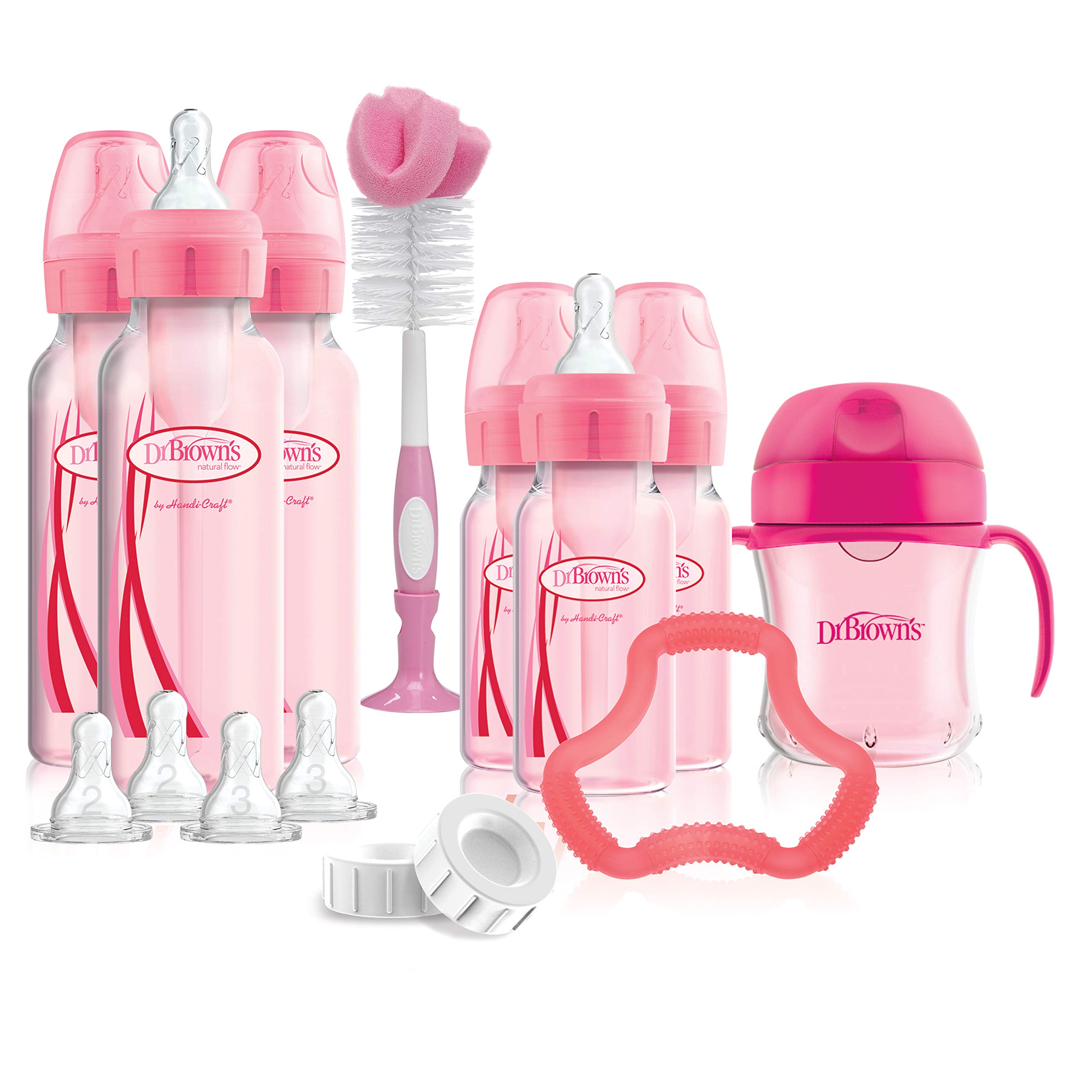 Dr. Brown's Options+ Baby Bottles Pink Gift Set with Silicone Teether, Pink Sippy Cup, Pink Bottle Brush and Travel Caps, Includes 6 Narrow Pink Baby Bottles by Dr. Brown's