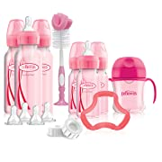 Dr. Brown's Options+ Baby Bottles Pink Gift Set with Silicone Teether, Pink Sippy Cup, Pink Bottle Brush and Travel Caps, Includes 6 Narrow Pink Baby Bottles