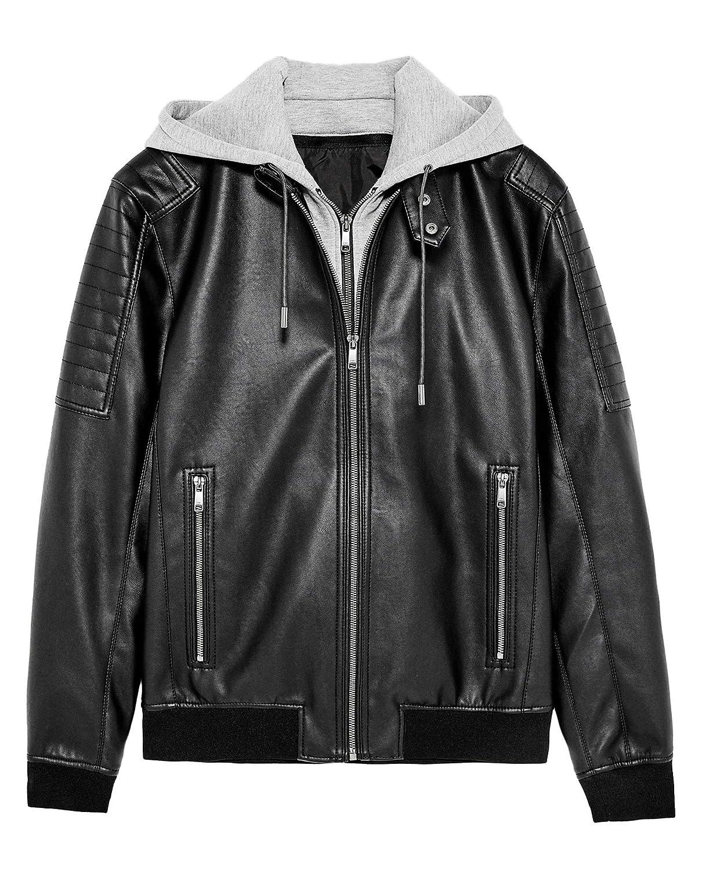 fccb3906 Zara Men Contrasting Faux Leather Jacket 8281/462 Black at Amazon ...