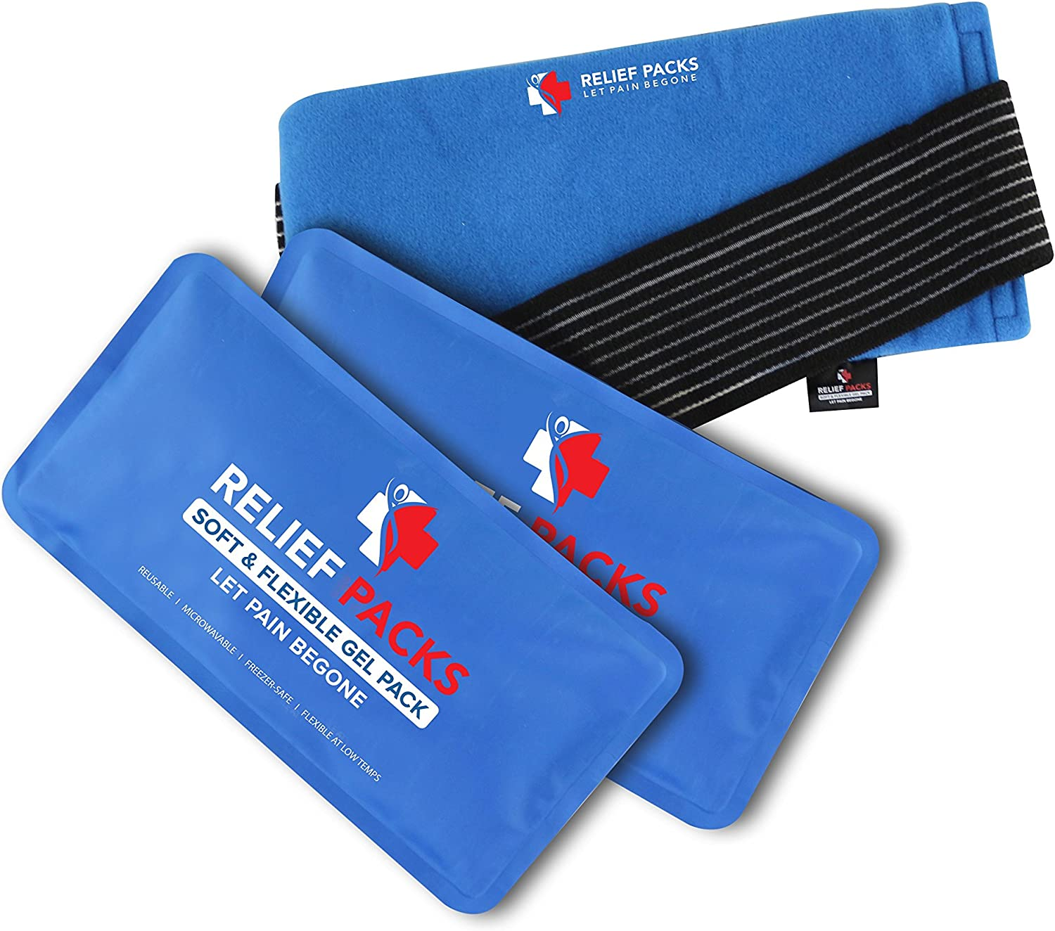 Soft & Flexible Gel Packs by Relief Packs: Reusable Ice Gel Pads for Cool & Hot Therapy – Multipurpose Microwaveable Gel Packs for Injuries, Pain Relief, Sports – Compression Strap Included (2