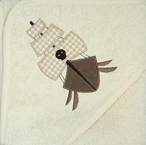 Baby Capucha Toalla con capucha Beige, con bordado Barco en Capucha