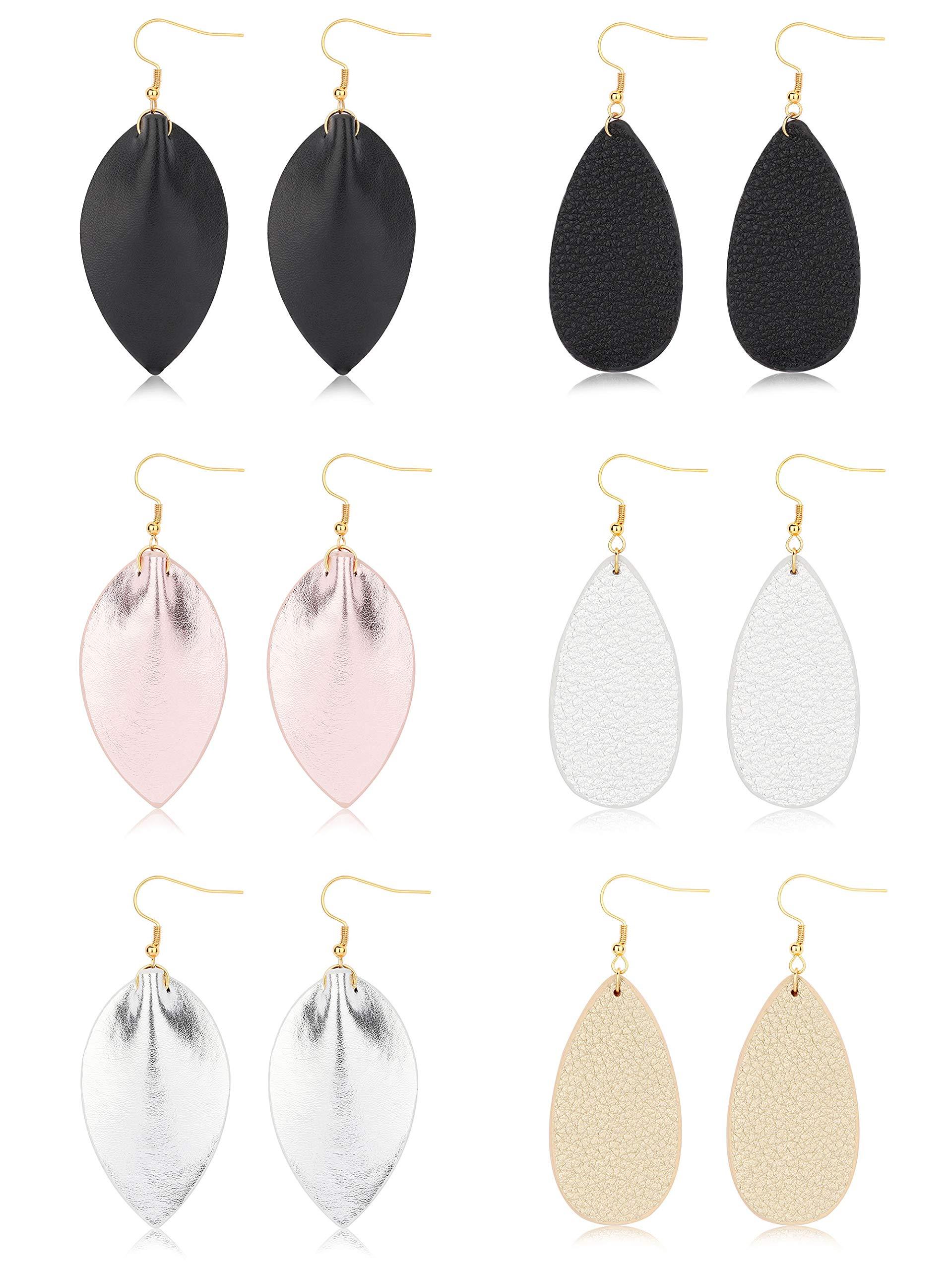 FIBO STEEL Teardrop Leather Earrings for Women Girls Dangle Drop Earrings 6 Pairs