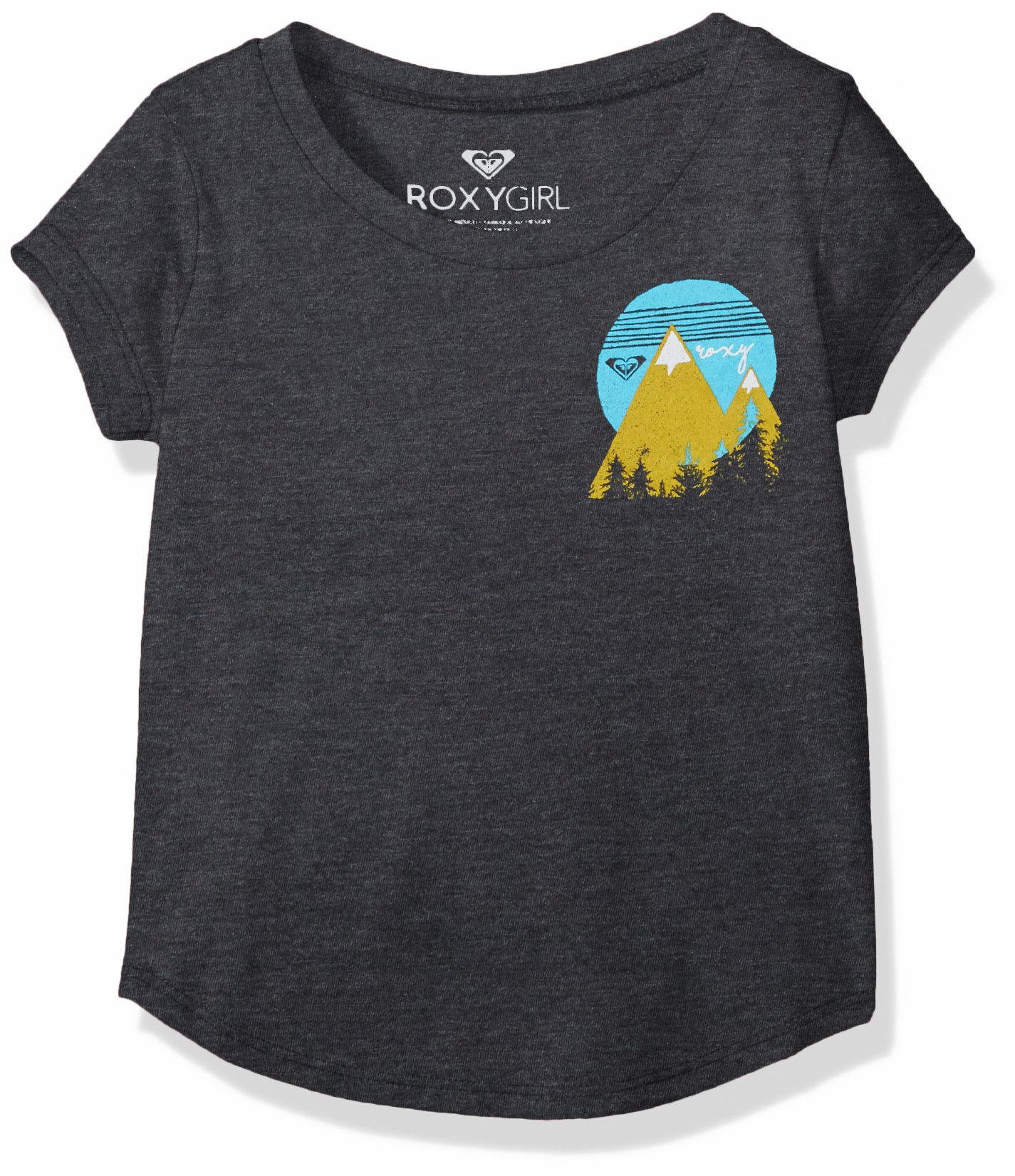 Roxy Little Girls' Mountain Love Tw Fashion Crew Tee, Anthracite, 2T