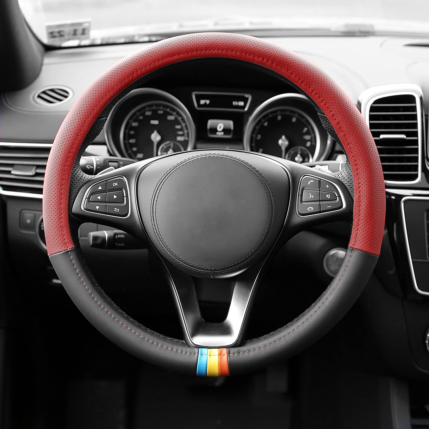 FH Group FH2006GRAY Steering Wheel Cover Microfiber Embossed Leather Gray