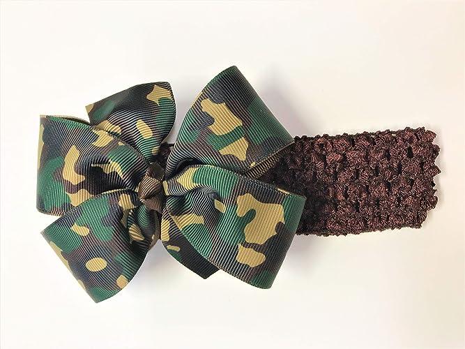 Amazon.com  Baby Girls Military Camouflage Headband Newborn Army Military  Brown Green Camo Hair Bow  Handmade 675b2e0c433