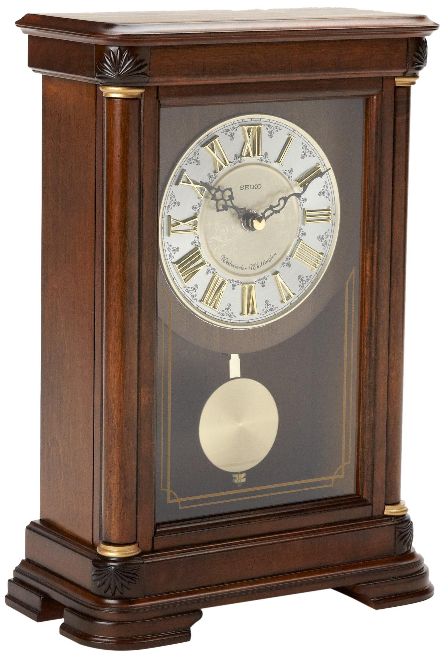 Seiko Mantel Chime with Pendulum Clock Brown Alder Case Ornamental Dial by SEIKO