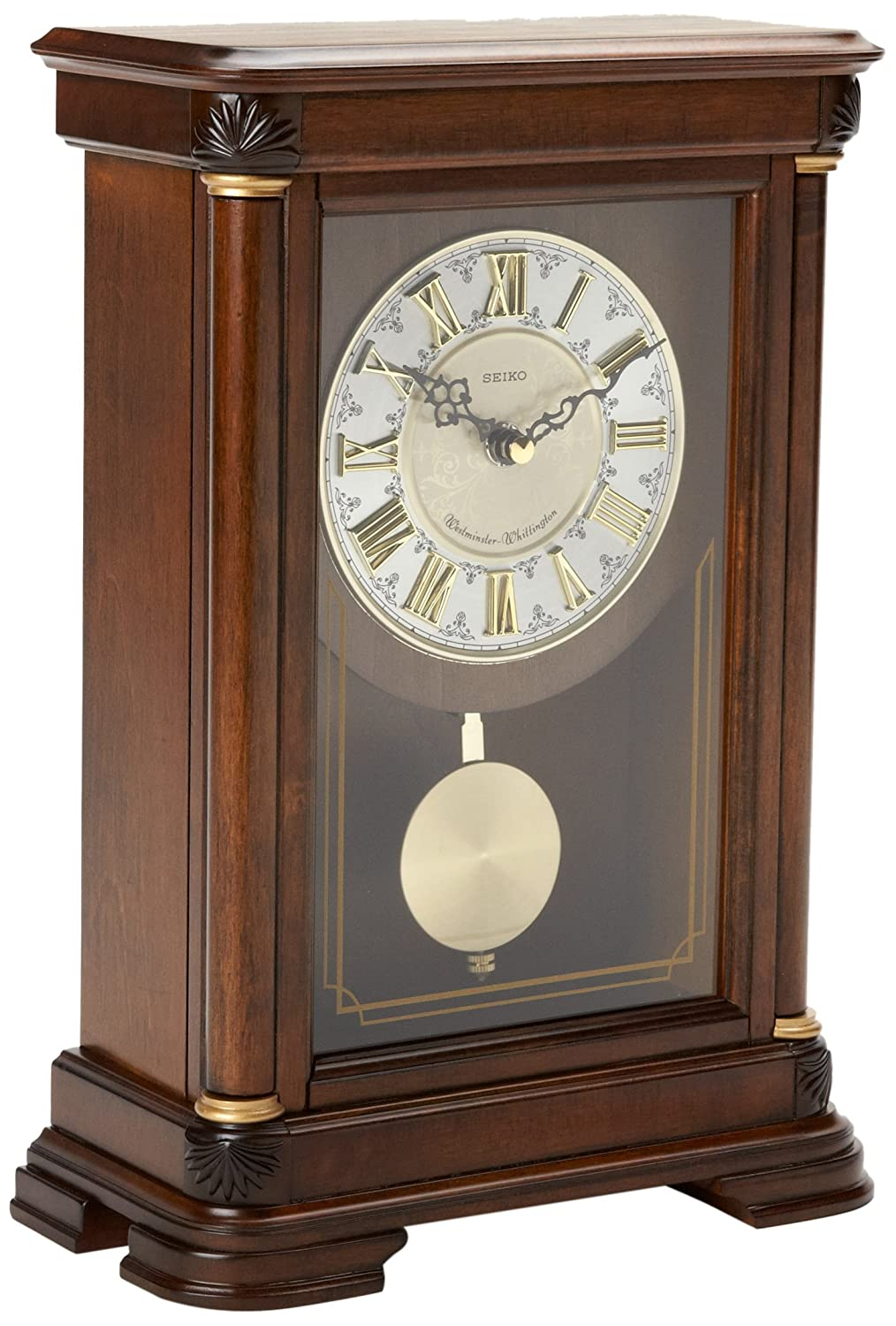 Seiko Mantel Chime with Pendulum Clock Brown Alder Case Ornamental Dial