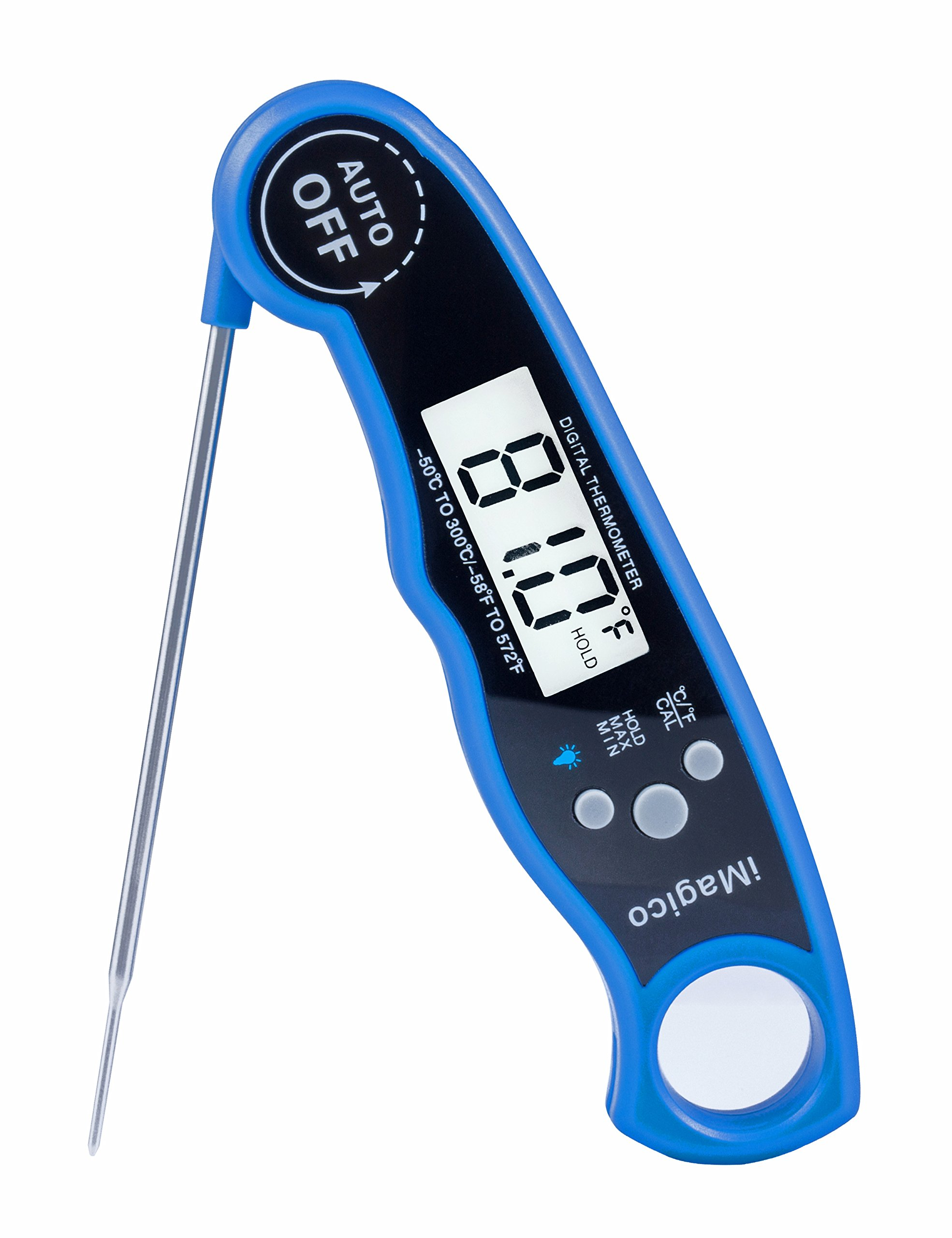 Super-Fast Digital Instant Read Meat Thermometer Waterproof Food Cooking Thermometer with Backlit Collapsible Probe, iMagico Kitchen Thermometer For Food, BBQ, Grill and Milk,Tea (Blue)