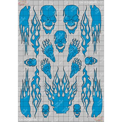 TRC8318TP Skull Flame Hobby Graphic Vinyl Stencil/Mask Polycarbonate Paint: Toys & Games