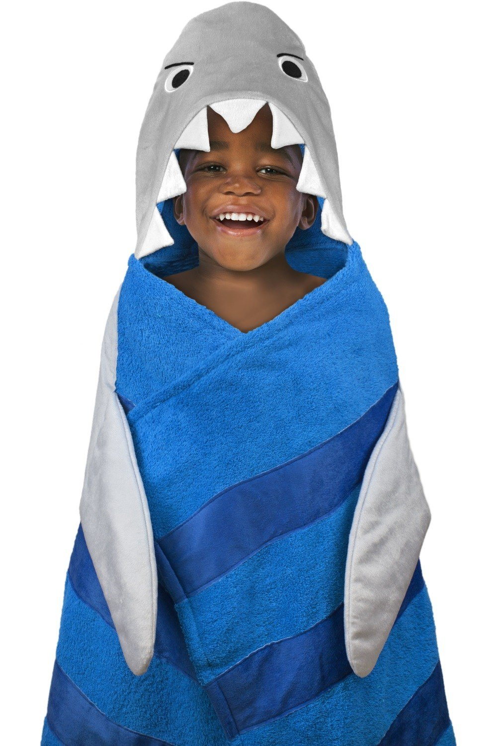 Hooded Towel for Kids, Oversize Cotton Character Hood Towel - Makes Getting Dry Fun - Ideal Beach Towels for Toddlers & Small Children - Use at The Pool or Bath Time, 26 x 45'', Grey Shark